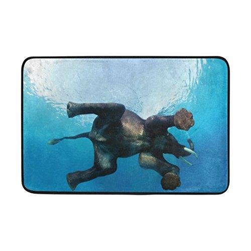 jstel Indischer Elefant Schwimmen-Fußmatte waschbar Garten Büro Fußmatte, Küche ESS-Living Badezimmer Pet Eintrag Teppiche mit Rutschfeste Unterseite 59,9x 39,9cm