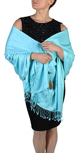Pashmina Schal Tuch für Frauen - Quastenveredelung - Kostenloser Aufhänger (Über 20 Farben) Handgefertigt (Türkis)