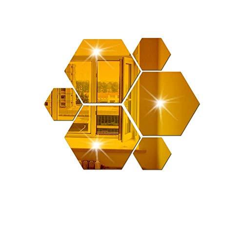 Wandaufkleber Spiegel 12 Pcs Stücke Geometrische Hexagon Spiegel Wandaufkleber Diy Wohnkultur Vergrößern Wohnzimmer Abnehmbare Sicherheit 5 Größen Diy Wandaufkleber ( Color : Gold , Size : XXL )