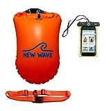 New Wave Schwimmboje für Openwater Schwimmer und Triathleten - Visible Float für Training und Wettkampf - (Orange PVC 20L Bundle)