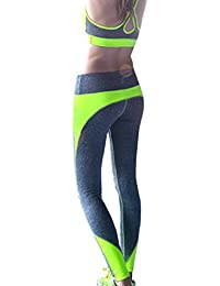 Tongshi Las mujeres de cintura alta deportes pantalones Legging entrenamiento deporte Fitness correr Legging (Amarillo, L)