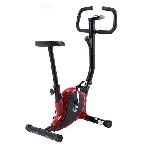 COSTWAY LCD Fitnessfahrrad Ergometer Heimtrainer Fahrradtrainer Hometrainer Trimmrad Fitnessbike Fitness Fahrrad (Rot)