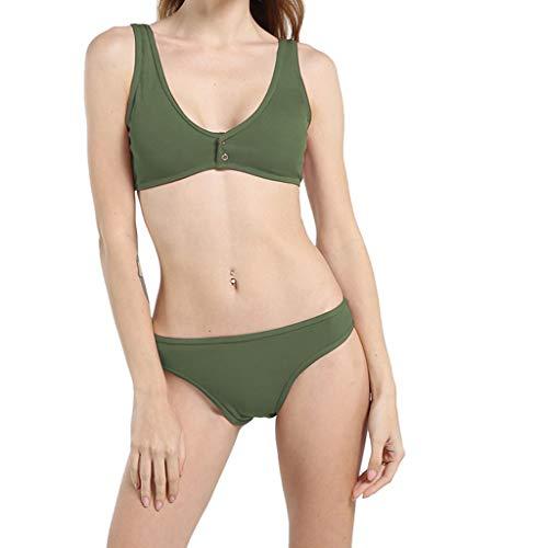 Traje De Baño De Mujer, JiaMeng Traje de baño Bikini Traje de baño sólido de Dos Piezas Tankini Beach Traje de baño Color sólido Bikini Brasileño