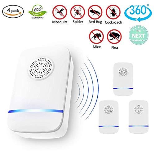 Moonssy Repellente ad Ultrasuoni, Elettrico Repeller ultrasonico per Zanzare, Ragni, Ratti, Scarafaggi, Antizanzare Efficace Sicuro e Non Tossico(4 Pack)