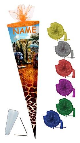 (Unbekannt Schultüte - Safari 85 cm - Incl. Namen und Schleife mit Tüllabschluß - mit / Ohne Kunststoff Spitze - Zuckertüte Mädchen Junge Tiere Elefant Zootiere)