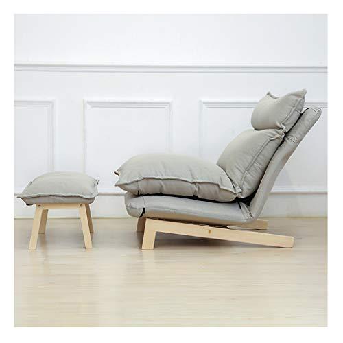 Bequem Sonnenliege Klappstuhl Sonnenliege Kissen Mittagspause Liege Outdoor Cord Faul Couch Balkon+ Footstool 29.5x39.3x36.6inch (Color : Gray)