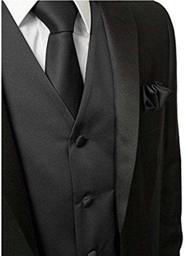 Judi Dench@ Men 3 Pezzi gilet tasca cravatta squadra a triangolo per il vestito o tuxedo Nero