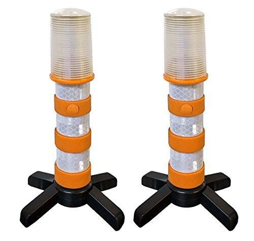 Commercial Tire (2 blinkende, gelbe LED-Warnleuchten von Magnatek für den Straßennotfall mit solider Aufbewahrungsbox)