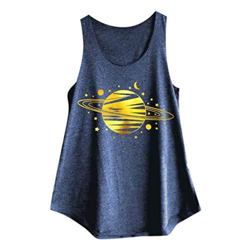 Andouy Damen Tank Top Print Ärmellose Weste mit Rundhalsausschnitt Camis Gr.36-40 Lose Bluse Shirt(XL(42),Marine-Planet)