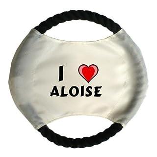 Personalisierter Hundefrisbee mit Aufschrift Ich liebe Aloise (Vorname/Zuname/Spitzname)