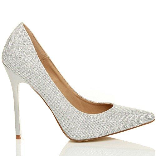 Femmes talon haut fête élégante escarpins de travail chaussures pointue taille Argent Scintillante paillettes