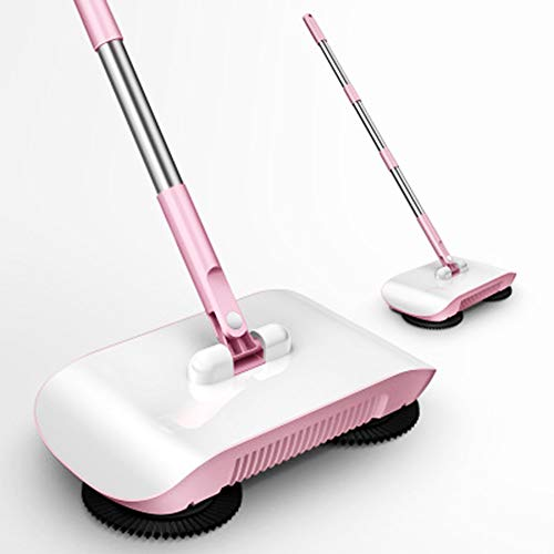 Nass- & Trockensauger 2 in 1 Sweeper Broom Robot, Automatic Hand Push Broom Mop Multifunktion Professional Vacuum mit 2 Fiberkleidung 180 Rotary Sweeper Dustpan Dustbin für Home Floor-Wet and Dry - Push-broom