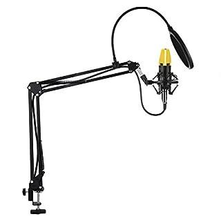 AUKEY Kondensator Mikrofon Set Pro mit Ständer, Popschutz, geeignet für Studio und Rundfunk Aufnahmen (GD-G1)