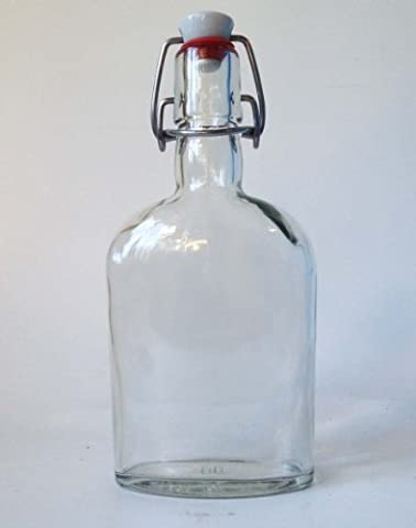 Nutley's 350 ml Glass Hip Flask Bottle and Ceramic Swing Stopper
