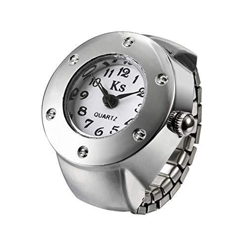 Damenuhren Ringuhren der Frauen Länge automatische teleskopische Quarzuhr Finger 5-6.5cm Art- und Weisering-Uhr