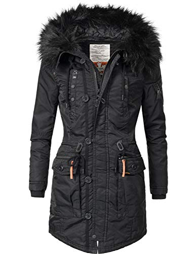 khujo Damen Mantel Wintermantel Winterparka YM-Halle (vegan hergestellt) Black018 Gr. S Mantel Wintermantel