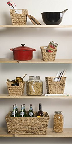 DII Natural Water Hyacinth Storage Basket with Handles, Beige
