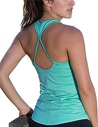 icyzone Damen Yoga Sport Top Lang - Fitness Gym Laufen Shirt Running Tanktop Vest