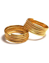 Daily Use Metal Alloy (Panchaloha) Toe Ring For Women- Multi Round Spring Type With Cut Pattern