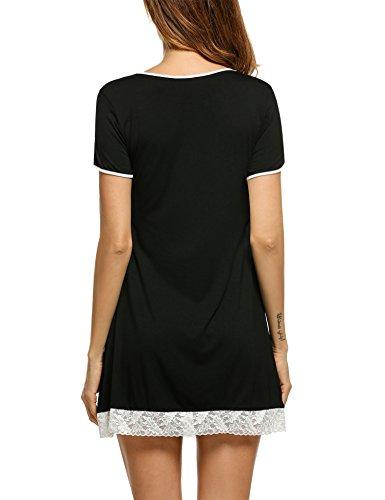 HOTOUCH Damen Kurzer Ärmel Nachthemd Nachtwäsche Mit Edler Spitzenverzierung Nachtkleid Baumwolle A-Line 3Typ1-Schwarz