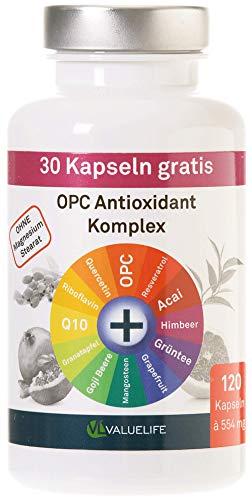 OPC Antioxidant Komplex - OPC mit 11 starken Antioxidantien, Fruchtextrakten & Vitaminen - 120 vegane Kapseln von VALUELIFE Kapseln