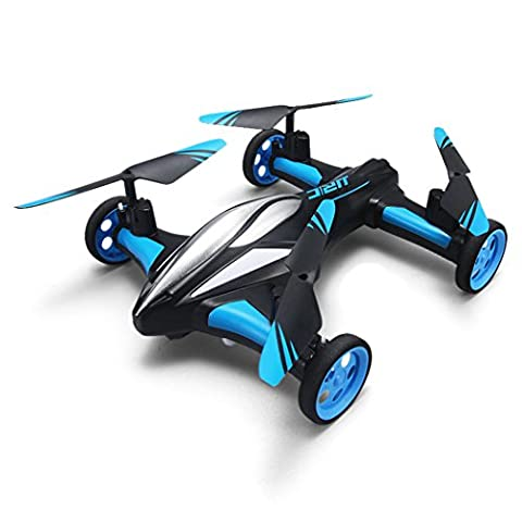 RC Plane/Car Kids 4 channel Quadcopter Drone Toy Remote Control Distance 2.4 Ghz 660-Foot Sky/Land 2 in 1 One Key Return Led Light By Zearo (Blue)