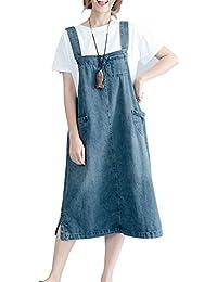 Donna Una Linea Tuta da Lavoro Denim Vestito Elegante Casuale Lungo Jeans  Overall Salopette 0994ef4eaa1