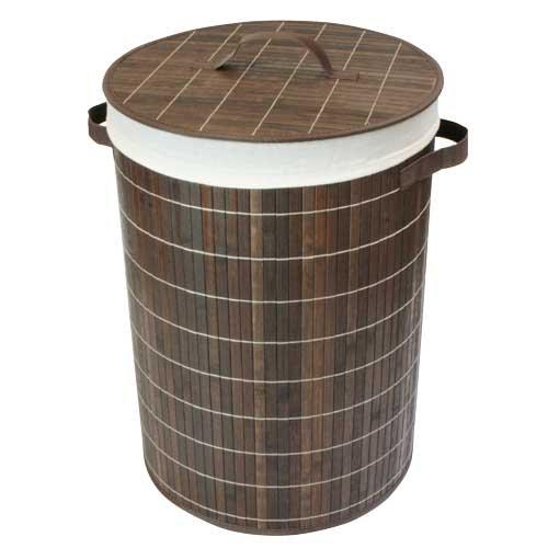 Jvl - cesto rotondo per biancheria pieghevole, in bambù, con fodera rimovibile, 35 x 50 cm, colore: marrone