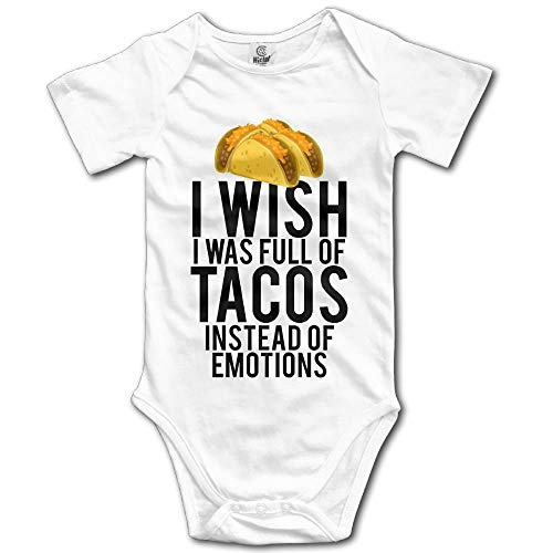 Wish I was Full of Tacos Instead of Emotions Newborn Short Sleeve Jumpsuit Outfits White