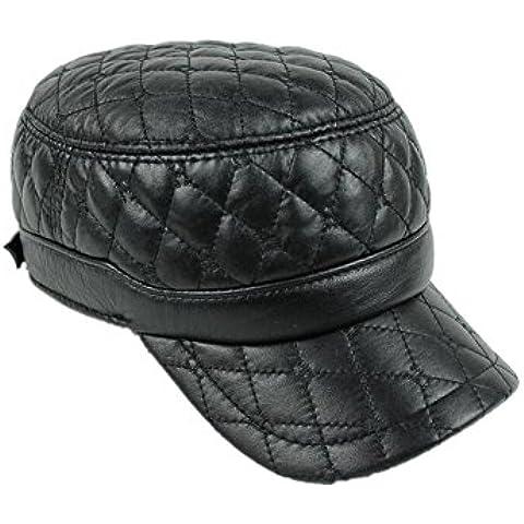 WE&ZHE Men's Baseball cap Flat Cap Sheep skin Genuine leather Leisure Autumn and winter outdoors Sporty Warm black