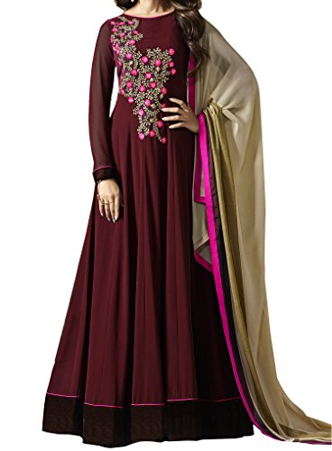 Ethnic Yard Latest Designer Green Embroidered Anarkali Gown (Maroon)