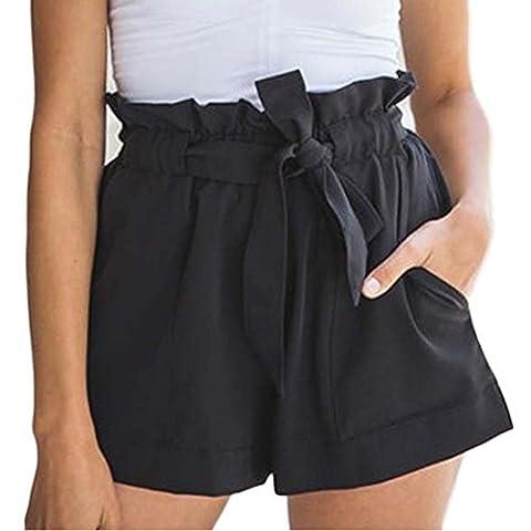 Minetom Femmes Été Mini Casual Pantalons Courts Belted Des Taille Haute Jambes Larges De Bain Plage Sport Shorts Noir EU