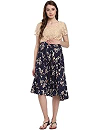 Mine4nine Women's Blue Printed Lace Maternity Dress