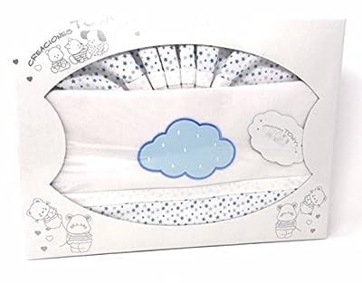 Sabanas De Cuna De franela - 100% algodon (bajera. encimera y funda de almohada)-Color Blanco-azul Danielstore