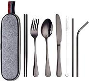 Portable Utensils Silverware Flatware set 8-Piece Cutlery set includes Knife Fork Spoon Chopsticks Straws with