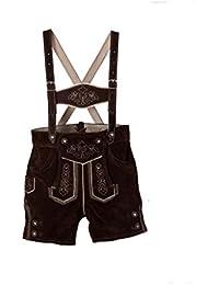 Isartrachten Pantalón de traje típico de piel, corto, para niños bebé con tirantes extraíbles