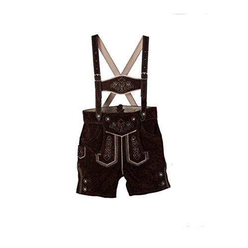 Isartrachten Jungen Trachtenlederhose mit Hosenträger braun kurze Lederhose (140)