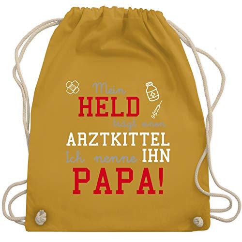 Sprüche Kind - Mein Held trägt einen Arztkittel - Unisize - Senfgelb - WM110 - Turnbeutel & Gym Bag