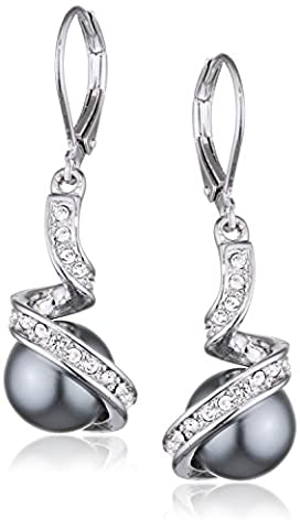 Yoursfs Sexy Deep Grey Pearl Earrings Drop 18ct White Gold