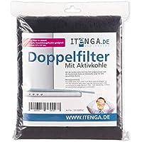itenga universal Aktivkohlefilter/Aktiv-Kohlefilter für jede Dunstabzugshaube geeignet- zuschneidbar - 47x57cm - Set Fettfilter + Aktivkohle für geruchsfreie Küche