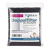 itenga universal Aktivkohlefilter / Aktiv-Kohlefilter für jede Dunstabzugshaube geeignet- zuschneidbar - 47x57cm - Set Fettfilter + Aktivkohle für geruchsfreie Küche