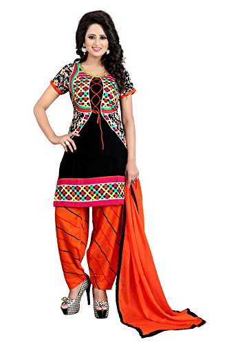 Shree Rajlaxmi Sarees Women's Black Printed French Crepe Regular Wear Unstitched Dress Material (rl-black-koti)