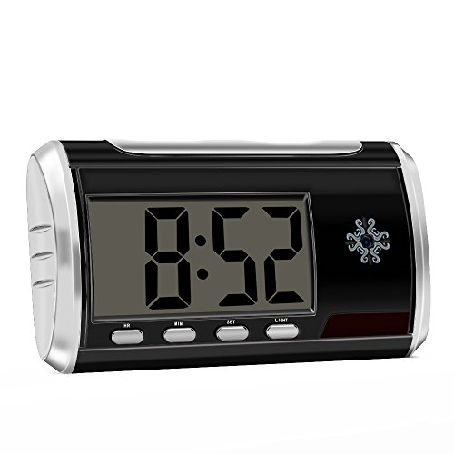 Aisoul Hidden Spy Camera Alarm Clock – HD 1080P Indoor Security Cam with High Capacity Rechargeable Battery, Motion Detection, Remote Controller Operation and Loop Recording, 8GB SD card included