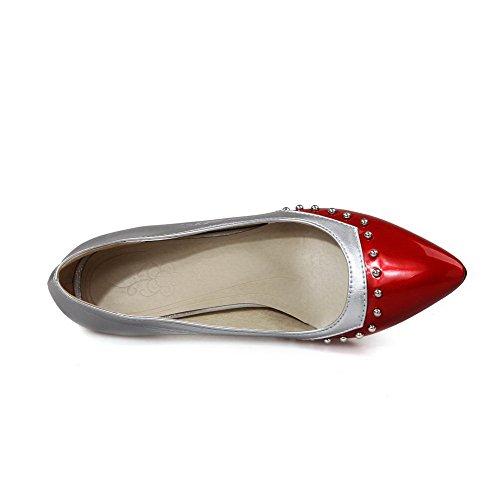 AllhqFashion Femme Matière Souple Pointu Tire Couleurs Mélangées Chaussures Légeres Rouge