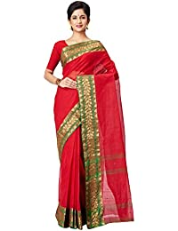 Slice Of Bengal Light Weight Broad Border Cotton Handloom Taant Tangail Saree-Red