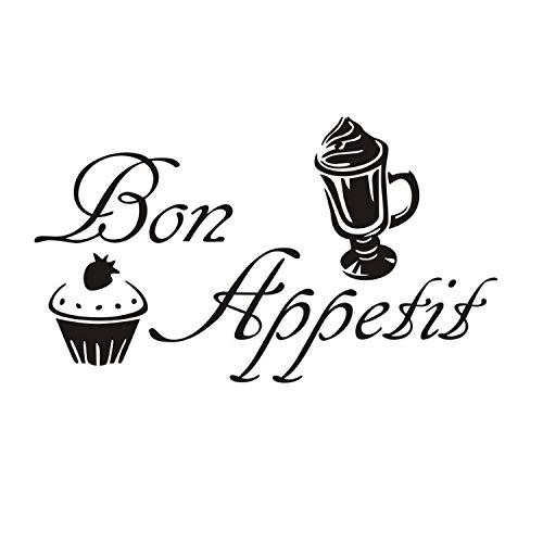 xmydeshoop Crème Glacée Gâteau Citations Arrière-Plans Vinyle Bon Appétit Sticker Mural Art pour La Décoration De La Cuisine Cuisine Nourriture Sticker 58X100 Cm