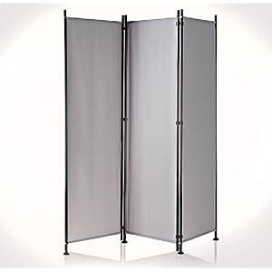IMC Paravent 3-teilig dunkelgrau Raumteiler Trennwand Sichtschutz, faltbar/flexibel verstellbar, wetterfester Polyester…