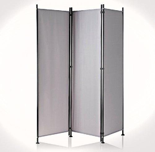 Paravent Raumteiler Trennwand grau 3-teilig - flexibel verstellbar