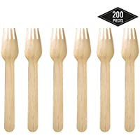 200 Tenedores Desechables de Madera, Cubiertos de Madera - Biodegradable, Compostable, 100% Natural - Robusto y Resistente - Postre Fiestas BBQ Picnics Cumpleaños| Excelente Alternativa al Plástico
