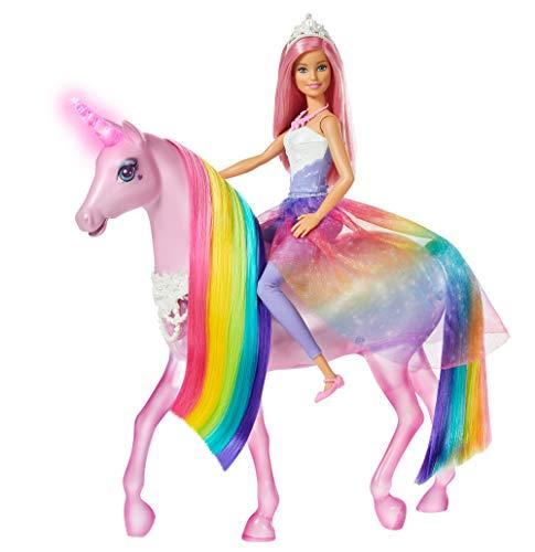Barbie- dreamtopia playset con bambola e unicorno grande che si illumina con chioma da pettinare, giocattolo per bambini 3+ anni, fxt26